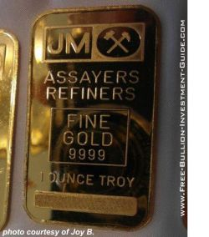 johnson matthey gold bar