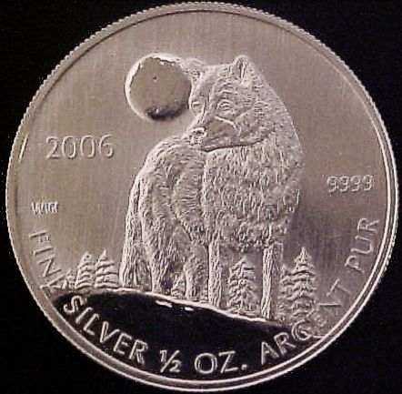 half oz silver timber wolf