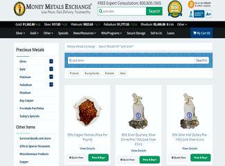 money metals exhange dimes and quarters junk silver screenshot
