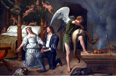Tobias and Sarah in Prayer with the Angel Raphael and the Demon