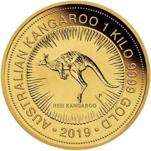 one kilo gold kangaroo - reverse side