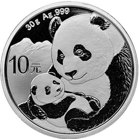 silver chinese panda obv