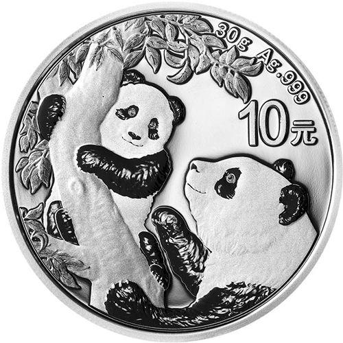 silver chinese panda obv