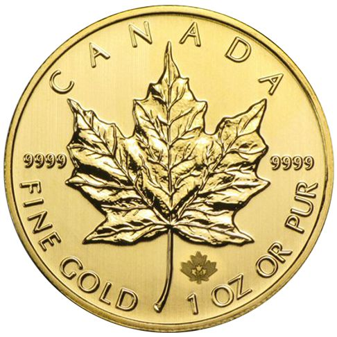 1oz  gold maple leaf rev