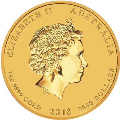 2018 - 1oz. Australian Gold Lunar Dog - Obverse