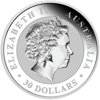 one kg silver kookaburra - obverse side