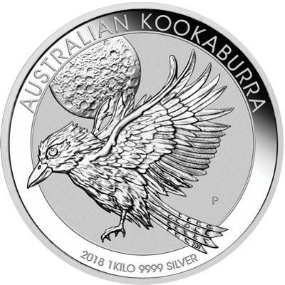 one kg silver kookaburra - reverse side