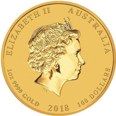 1oz. Australian Gold Lunar Dog - Series II  Obverse
