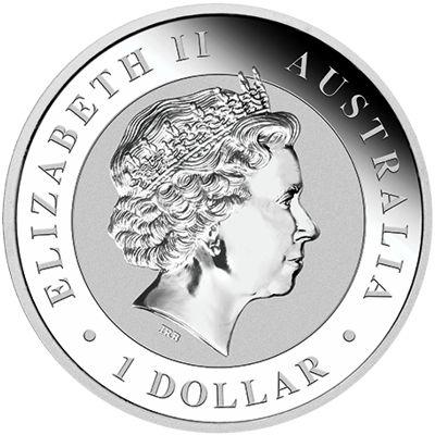 1oz. silver kookaburra - obverse side