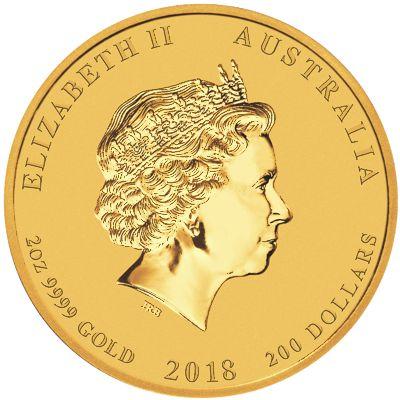 2018 - 2oz. Australian Gold Lunar Dog - Obverse