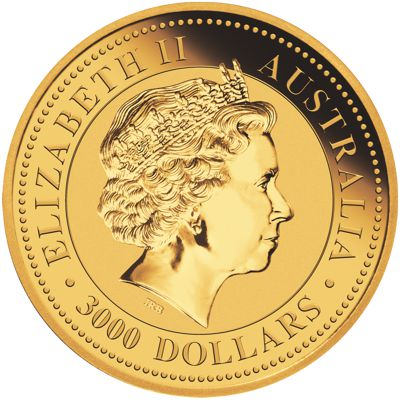 one kilo gold kangaroo - obverse side