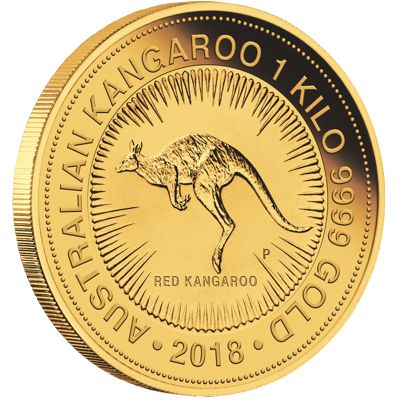 one kilo gold kangaroo - reverse side