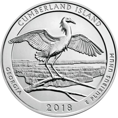 2018 - America the Beautiful 5 oz. Silver Cumberland Island - Georgia - Reverse side