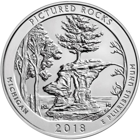 2018 - America the Beautiful 5 oz. Silver Pictured Rocks - Michigan - Reverse side