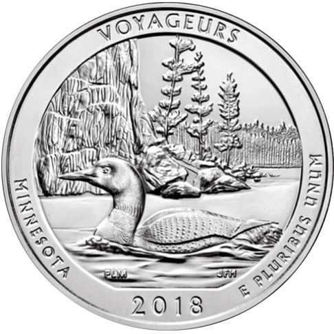 2018 - America the Beautiful 5 oz. Silver Voyageurs - Minnesota - Reverse side