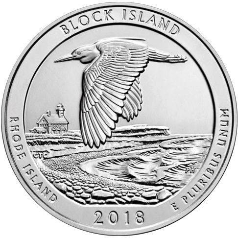 2018 - 5 oz. Silver America the Beautiful Bullion Coin - Block Island - Rhode Island - Reverse side