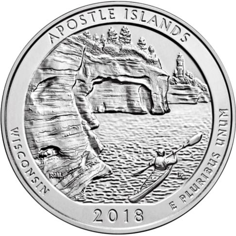 2018 - America the Beautiful 5 oz. Silver Apostle Islands - Wisconsin - Reverse side