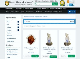 money metals exhange dimes and quarters junk silver screenshot