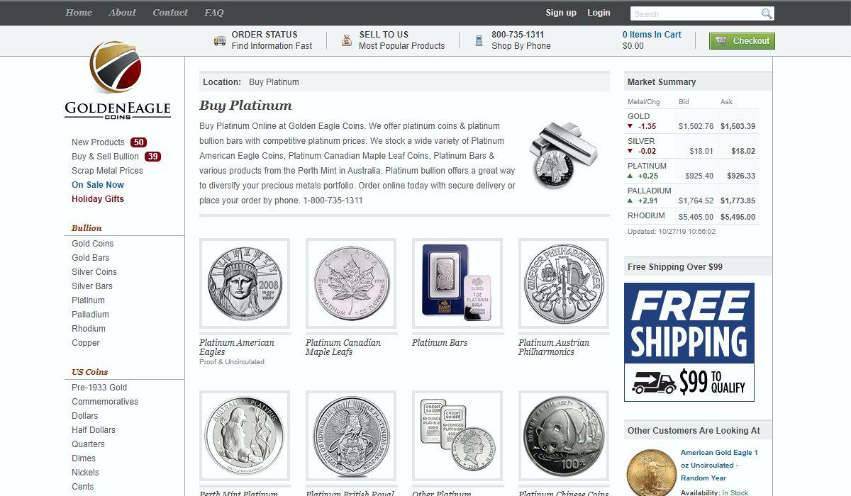 GoldenEagle Coins platinum