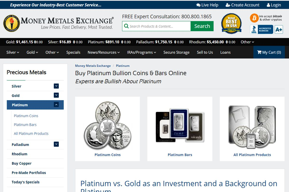 Money Metals Exchange platinum