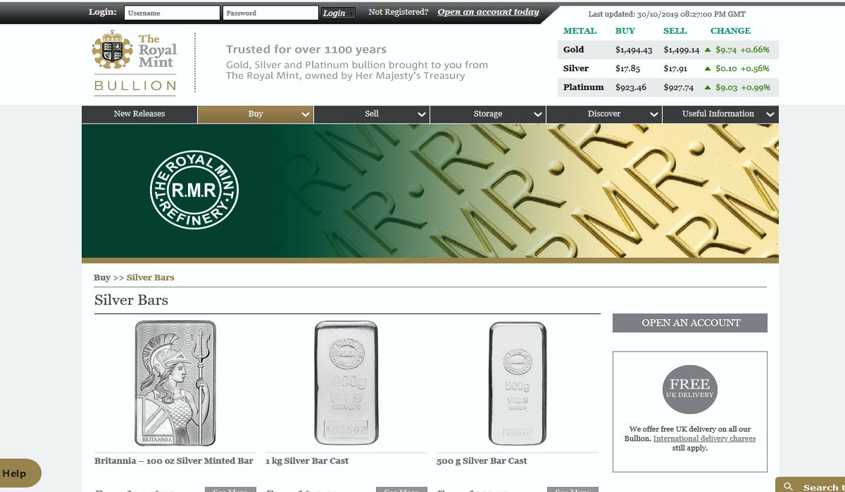 the royal mint silver bars