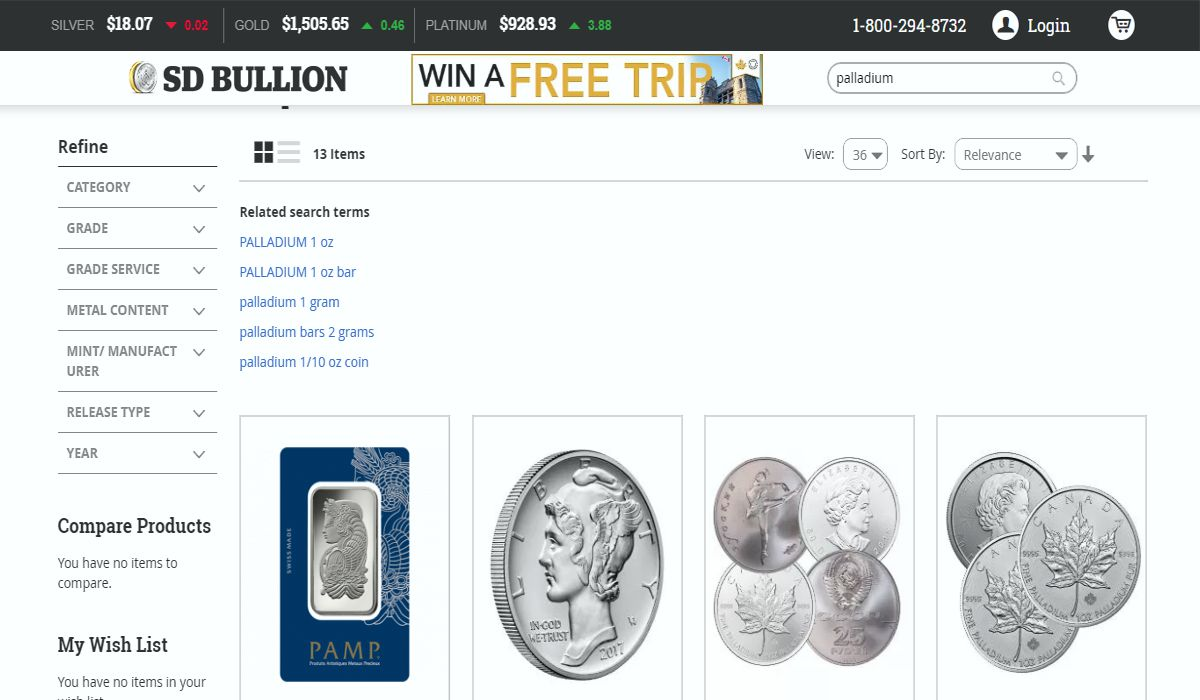SD Bullion palladium