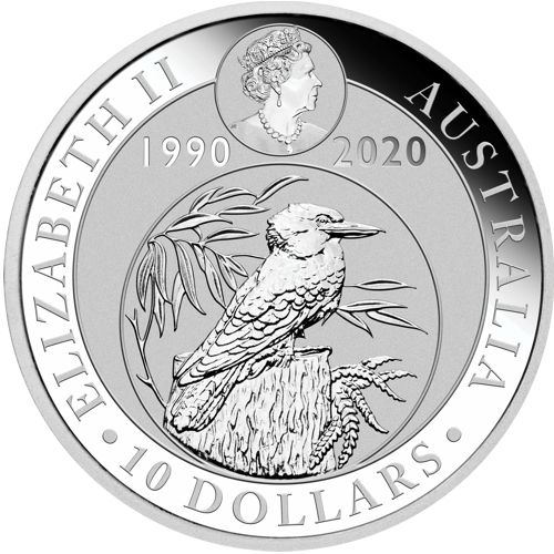 ten oz silver kookaburra - obverse side