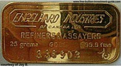 25gram engelhard gold bar