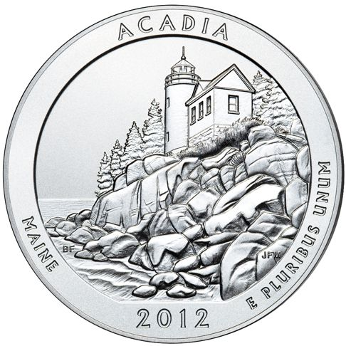 2012 - 5 oz. Silver, Acadia, Maine - America the Beautiful Bullion Coin - reverse side