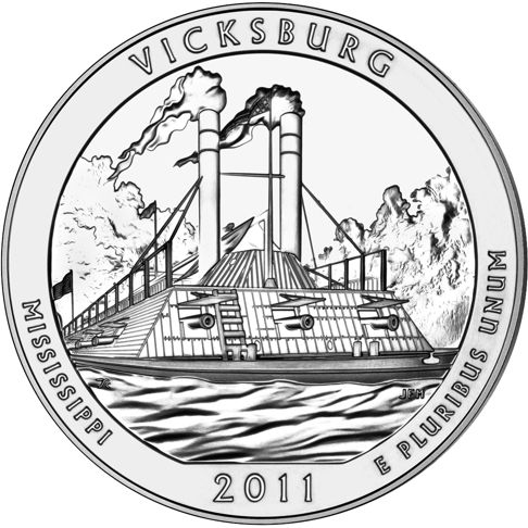 2011 - 5 oz. Silver, Vicksburg, Mississippi - America the Beautiful Bullion Coin - reverse side