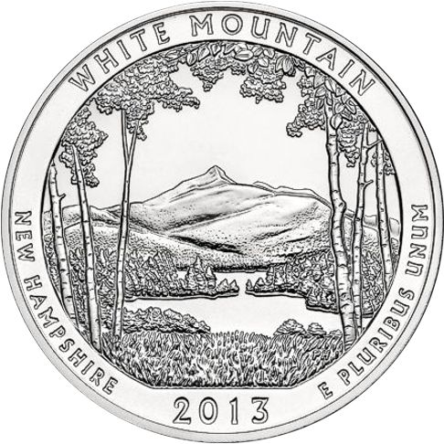 2013 - 5 oz. Silver, White Mountain, New Hampshire - America the Beautiful Bullion Coin - reverse side