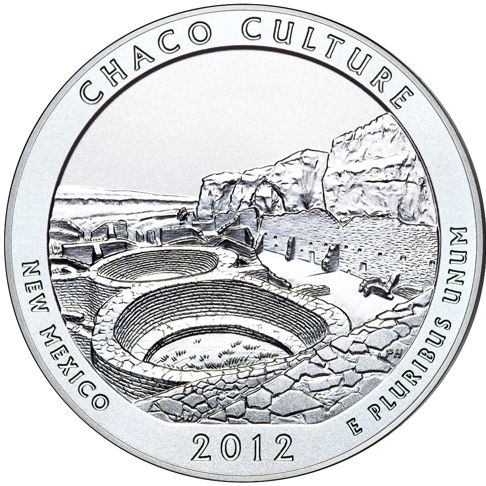 2012 - 5 oz. Silver, Chaco Culture, New Mexico - America the Beautiful Bullion Coin - reverse side