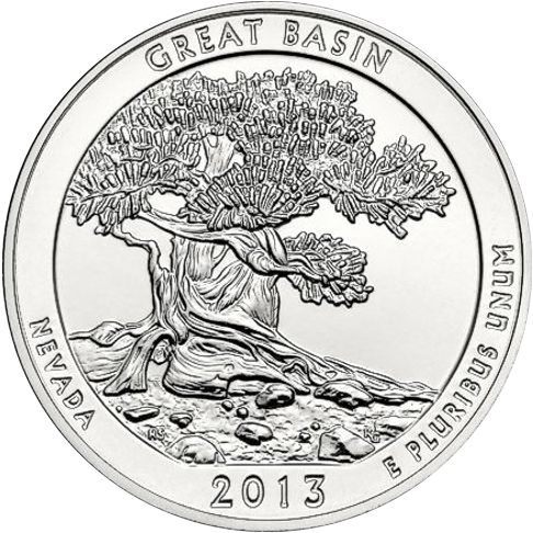 2013 - 5 oz. Silver, Great Basin, Nevada - America the Beautiful Bullion Coin - reverse side