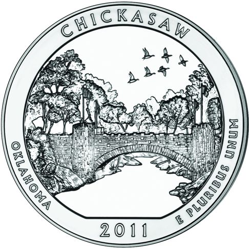 2011 - 5 oz. Silver, Chickasaw, Oklahoma - America the Beautiful Bullion Coin - reverse side