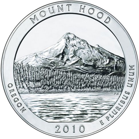 2010 - 5 oz. Silver, Mount Hood, Oregon - America the Beautiful Bullion Coin - reverse side