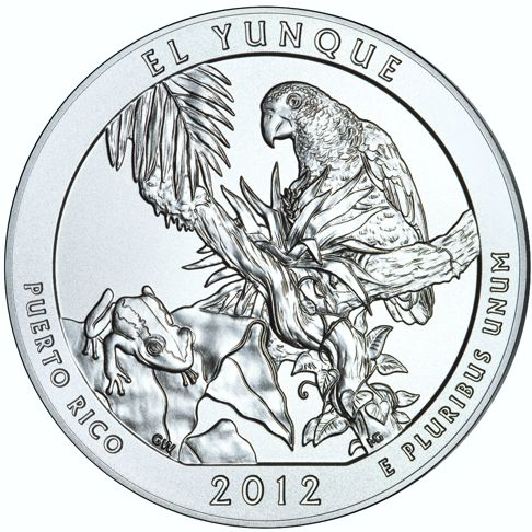 2012 - 5 oz. Silver, El Yunque National Forest - PR (Puerto Rico)  - America the Beautiful Bullion Coin - reverse side