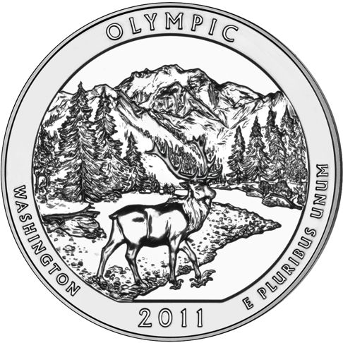 2011 - 5 oz. Silver, Olympic, Washington - America the Beautiful Bullion Coin - reverse side