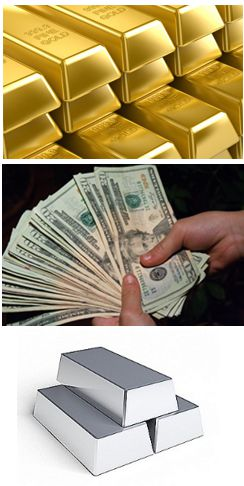 gold, u.s. dollar, and silver