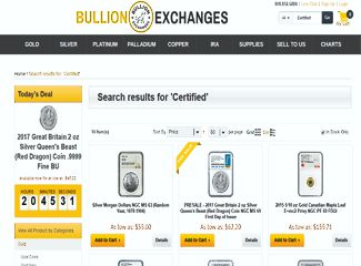 Bullion Exchanges - Graded/Certified Bullion Coins