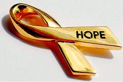 gold hope ribbon