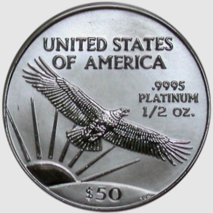 half oz platinum eagle - reverse