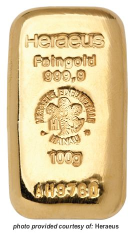 heraeus cast gold bar