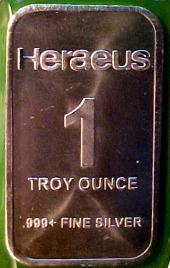 heraeus minted silver bar