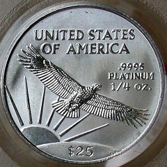 quarter oz platinum eagle - reverse