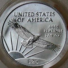 quarter oz platinum eagle - reverse