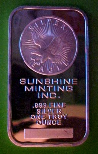 sunshine mint bullion bar obverse