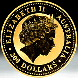 2oz. Australian Gold Lunar Bullion Coin - Series I - obverse side
