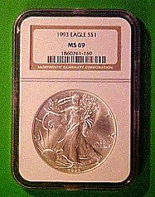 1993 ms69 silver eagle