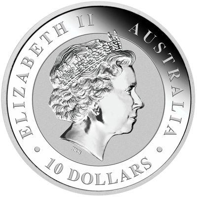 ten oz silver kookaburra - obverse side