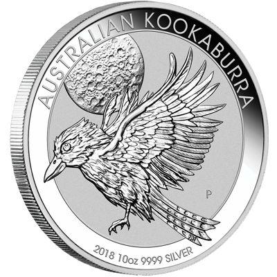 ten oz silver kookaburra - reverse side